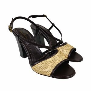 Brooks Brothers Heeled Leather Sandals  VGC